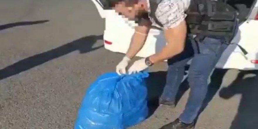 Çöp poşeti içinden 11 kilo uyuşturucu çıktı