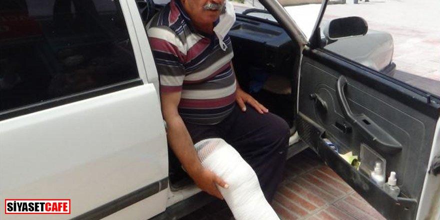 Üstüne inek düştü, bacağı kırıldı