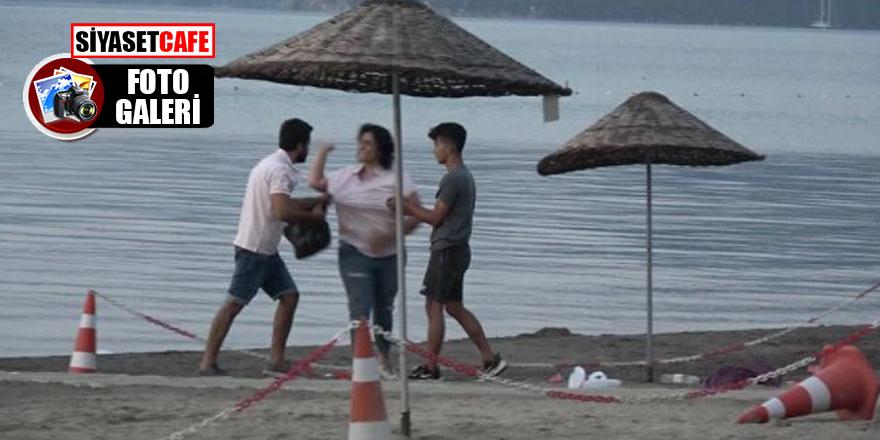 Halk plajında tekme- tokat kavga!