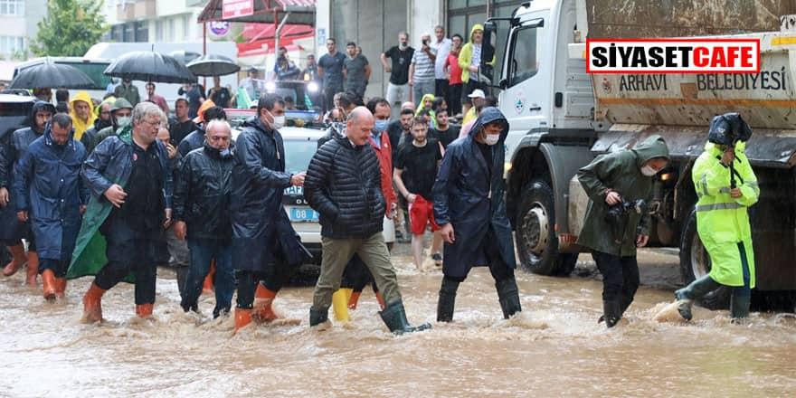 Artvin Arhavi'de yine yağmur yağdı yine mahalleleri sel bastı