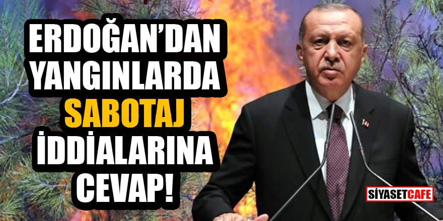 Cumhurbaşkanı Erdoğan'dan yangınlarda sabotaj iddialarına cevap!