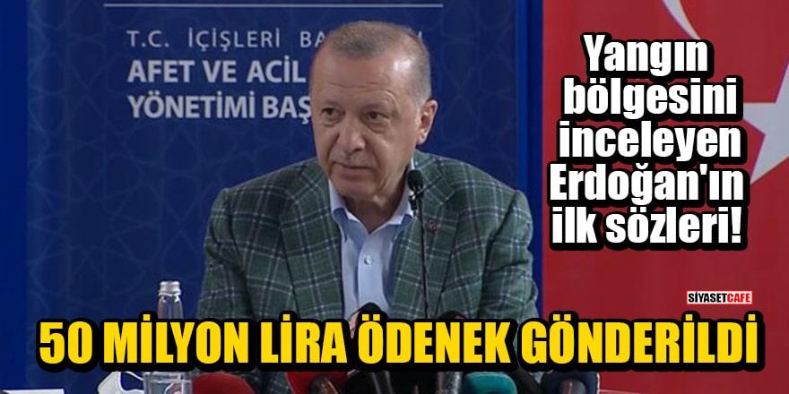 Yangın bölgesini inceleyen Erdoğan'ın ilk sözleri: Afet bölgesine 50 milyon lira ödenek gönderildi