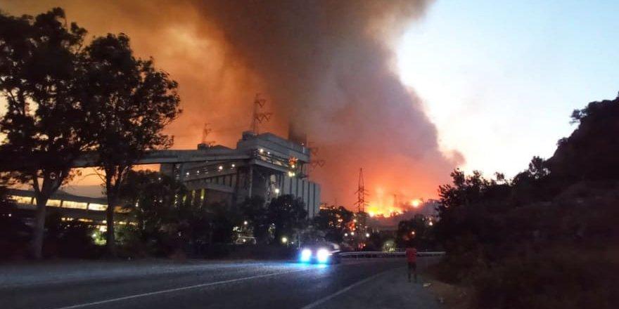 Milas'ta yangın termik santrale sıçradı