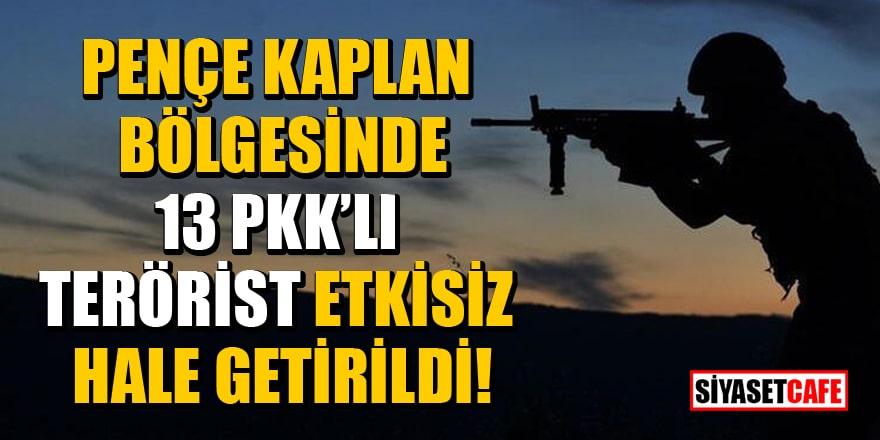 Pençe Kaplan bölgesinde 13 PKK'lı terörist etkisiz hale getirildi