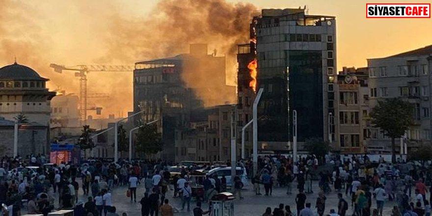 Taksim Meydanı'nda korkutan anlar: Otelde yangın çıktı