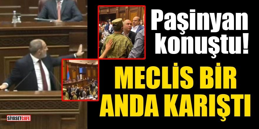 Ermenistan parlamentosunda Paşinyan konuştuğu sırada ortalık bir anda karıştı!