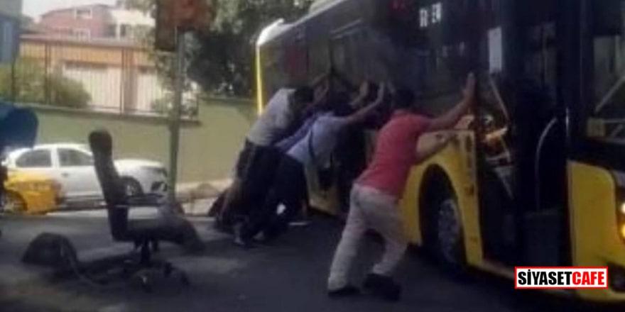 Bayrampaşa'da İETT otobüsü yolda asılı kaldı