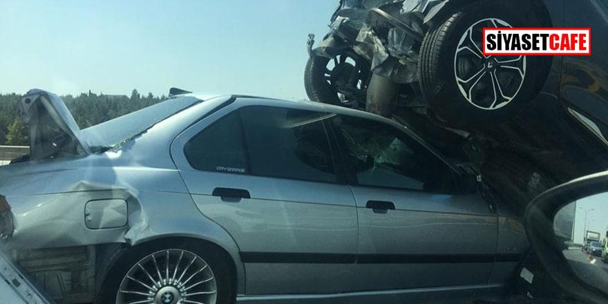 Hadımköy TEM otoyolunda 6 araç birbirine girdi!