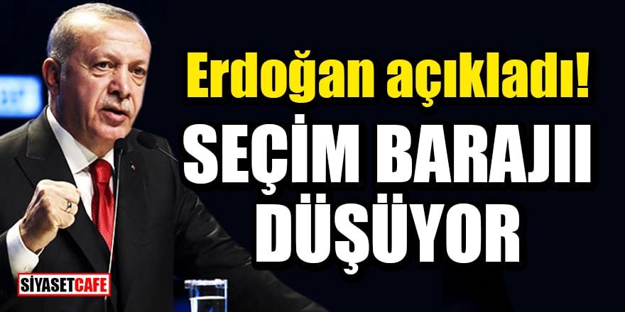 Cumhurbaşkanı Erdoğan açıkladı: Seçim barajı düşüyor
