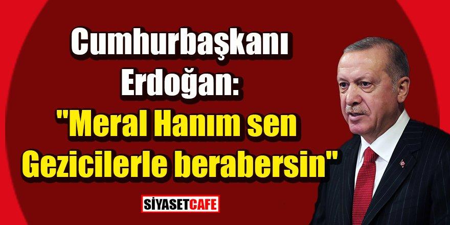 """Cumhurbaşkanı Erdoğan: """"Meral Hanım sen Gezicilerle berabersin"""""""
