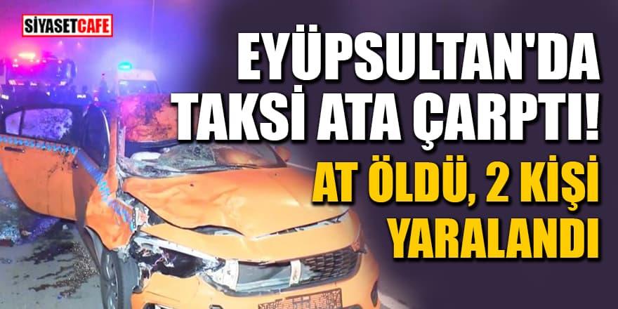 Eyüpsultan'da taksi ata çarptı: At öldü, 2 kişi yaralandı