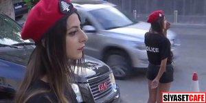 Kadın polislere şortlu tişörtlü üniforma