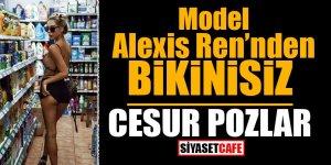 Model Alexis Ren'den bikinisiz cesur pozlar