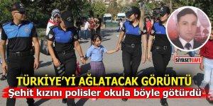 Türkiye'yi ağlatacak görüntü! Şehit kızını polisler okula böyle götürdü