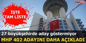 MHP 402 adayını açıkladı: 27 Büyükşehirde aday çıkarmıyor