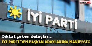 İYİ Parti'den başkan adaylarına manifesto
