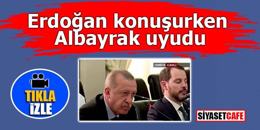 Erdoğan konuşurken damadı Albayrak uyudu!