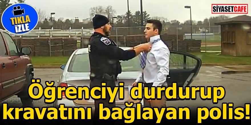 Öğrenciyi durdurup kravatını bağlayan polis!