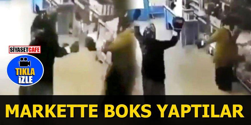 Markette eldivenleri takıp boks yapan teyzeler sosyal medyayı salladı