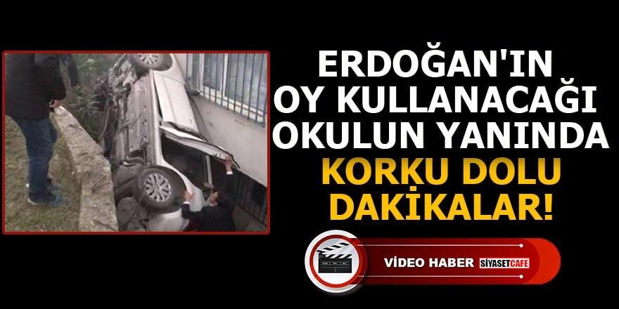 Erdoğan'ın oy kullanacağı okulun yanında korku dolu dakikalar!