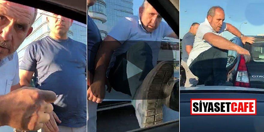 Trafiğin ortasında hamile kadının bulunduğu araca saldırdılar!