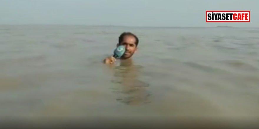 Pakistanlı muhabir 'sel haberini' böyle sundu