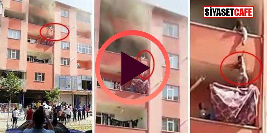 Korku dolu anlar! Binadaki yangından çocuklar böyle kurtarıldı