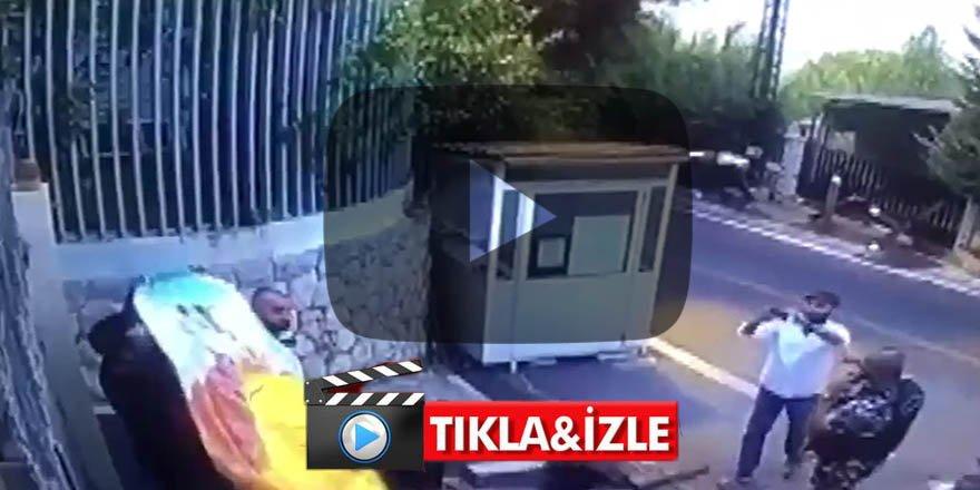 Türk Büyükelçiliği'ne provokatif saldırı! Binanın önüne astılar