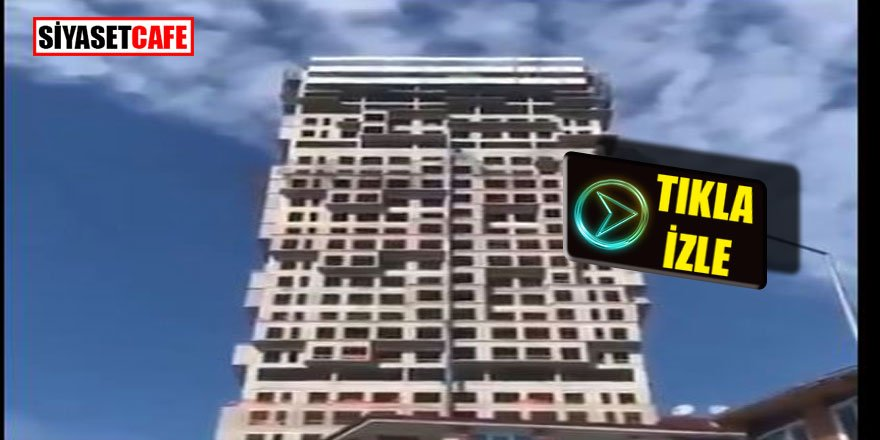 İstanbul deprem anında inşaat halinde  bir binanın sallanışı