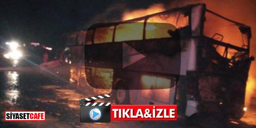 Umre yolunda facia: Yanan otobüste 35 kişi öldü