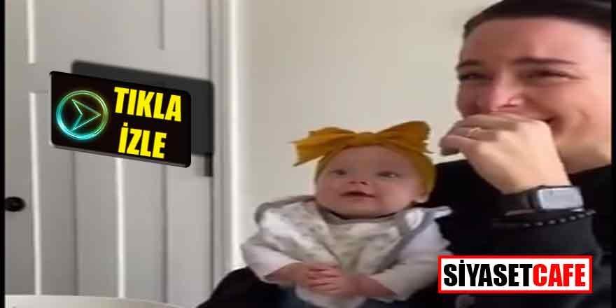 Bebeğinin kahkahalarını ilk kez duydu, gözyaşlarına boğuldu