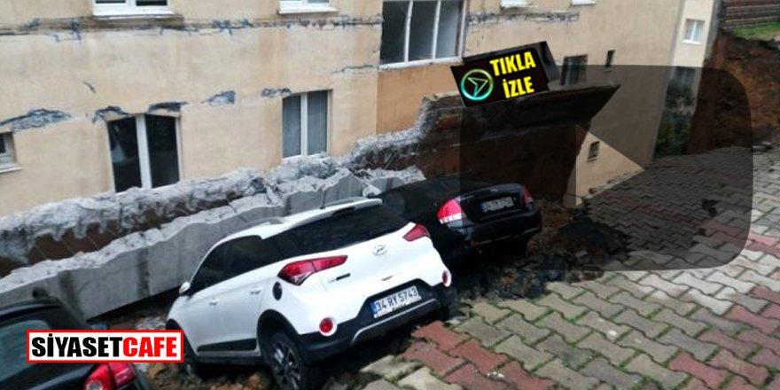 Kartal'da istinat duvarı çöktü! Otomobiller toprağa gömüldü