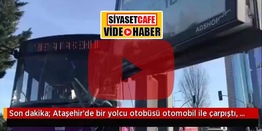 Yolcu otobüsü reklam panosuna çarptı! Havada asılı kaldı