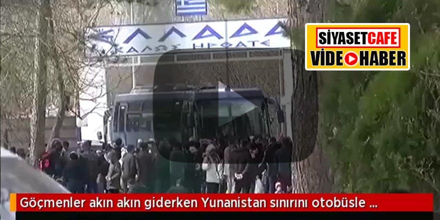 Ülkeye girişleri durdurmak için harekete geçen Yunanistan da sınırı otobüsle kapattı