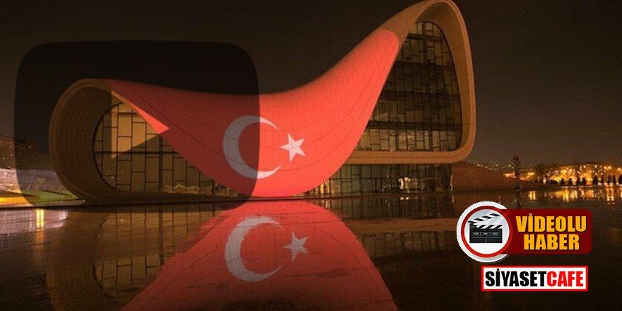 Azerbaycan'dan Türk bayrağı jesti! 'Tek millet, tek yürek!'