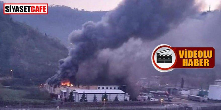 Trabzon'da fabrikada yangın