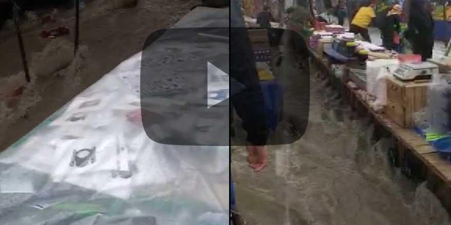 İstanbul'da semt pazarını su bastı!