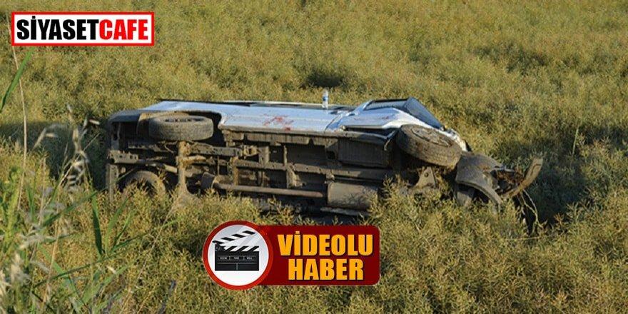 Tekirdağ'daki kazada minibüs şarampole yuvarlandı