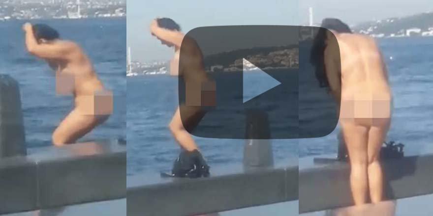 İstanbul'un göbeğinde şoke eden görüntü! Çırılçıplak denize girdi