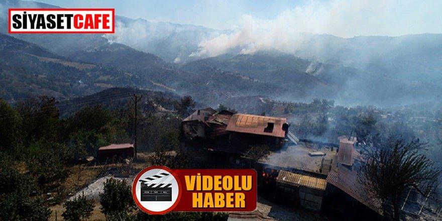 Kozan'daki yangında yanan evler böyle görüntülendi