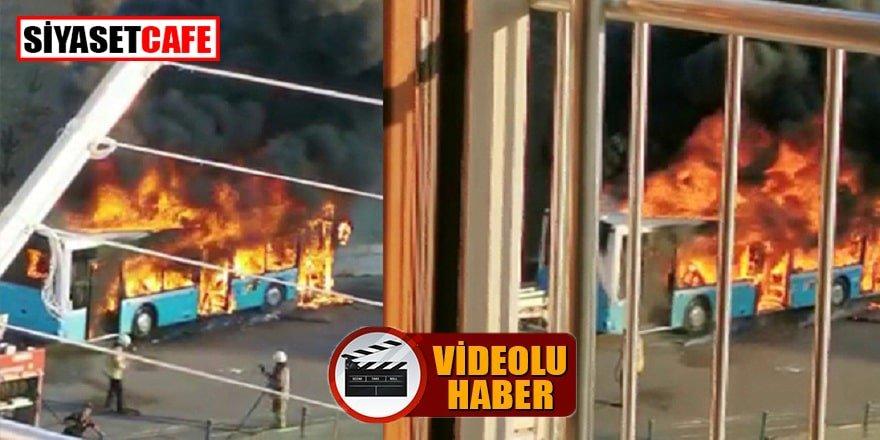 Tuzla'da alev topuna dönen otobüs korku yarattı