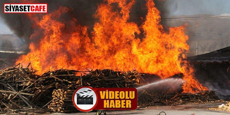 Erzincan'da kereste fabrikası yandı