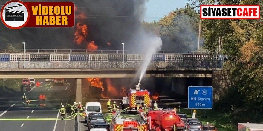 Almanya'da otobanda tanker yangını