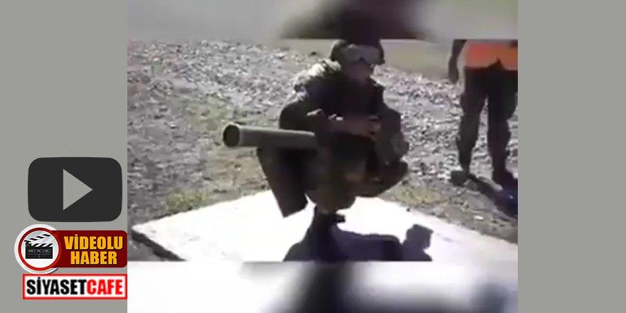 Ermenistan askeri Azerbaycan SİHA'sını indirmeye çalışırken görüntülendi