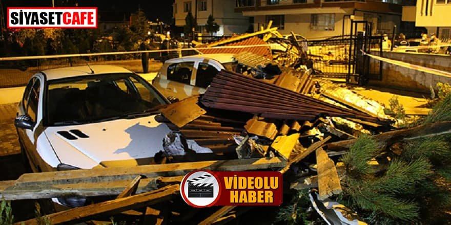 Başkent'te çıkan şiddetli fırtına çatıları uçurdu
