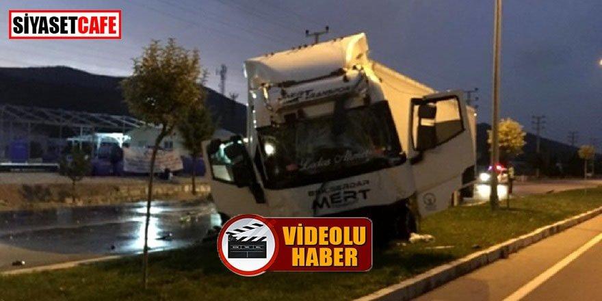 Burdur'daki tır kazası ucuz atlatıldı