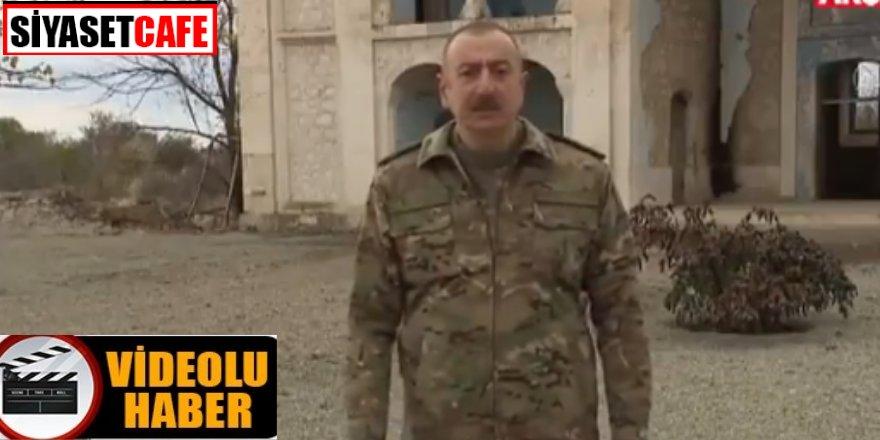 İlham Aliyev Ermenilerin domuz beslediği caminin önünden seslendi