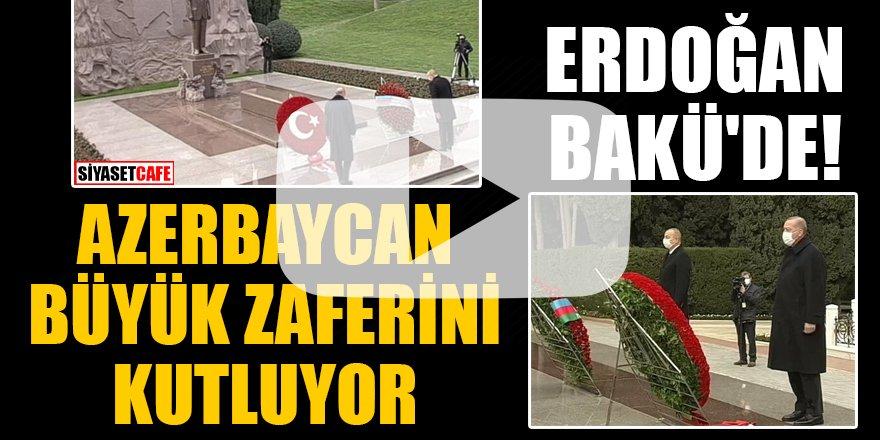 Erdoğan Bakü'de! Haydar Aliyev'in kabrini ziyaret etti