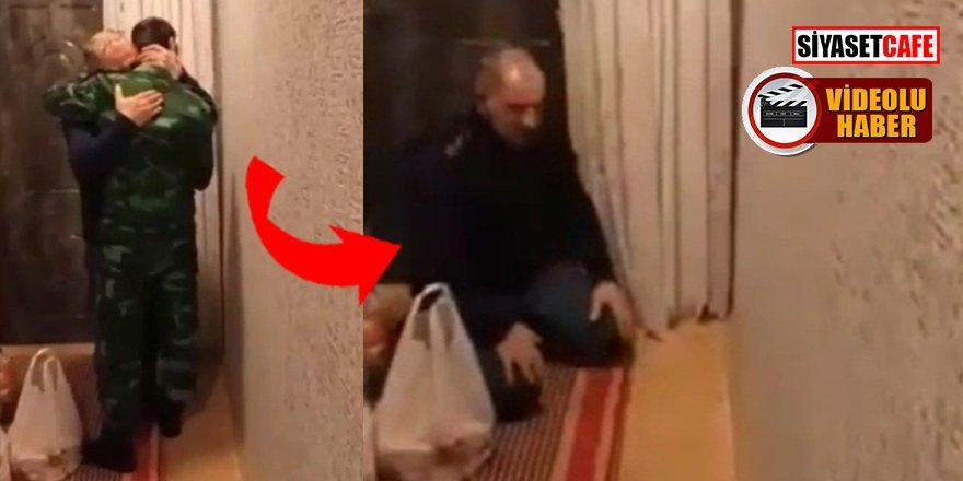 Azerbaycan'da gazi oğlunu karşılayan baba, şükür secdesine kapandı