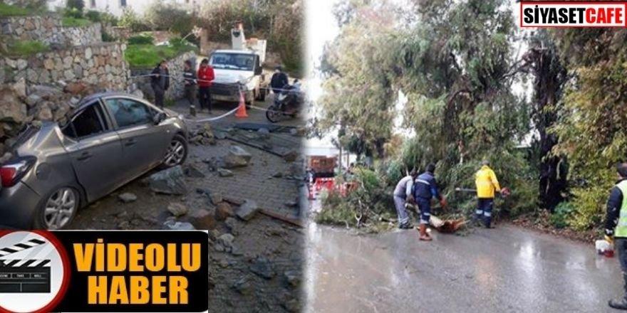Korkutan görüntüler: Bodrum'da fırtına ve dolu